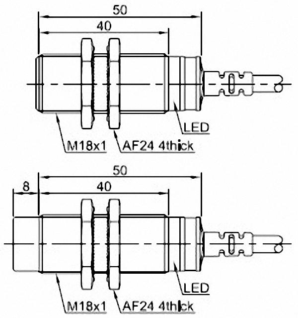 Czujnik indukcyjny LR18 wymiary