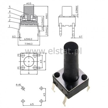 MicroSwitch  6x6.0mm  h=14mm ( 10mm )  4 pin