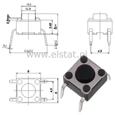 MicroSwitch  6x6.0mm  h=4.3mm  ( 0,8 mm ) 4 pin